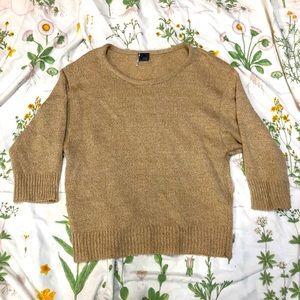 Sparkle & Fade cream/tan 3/4 Sleeve Knit Sweater